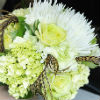 Bright green and white nosegay bouquet with whimsical touches